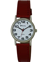 Ravel Large Case Fashion on PU Strap Women's Quartz Watch with White Dial Analogue Display and Red Plastic Strap R0105.10.2