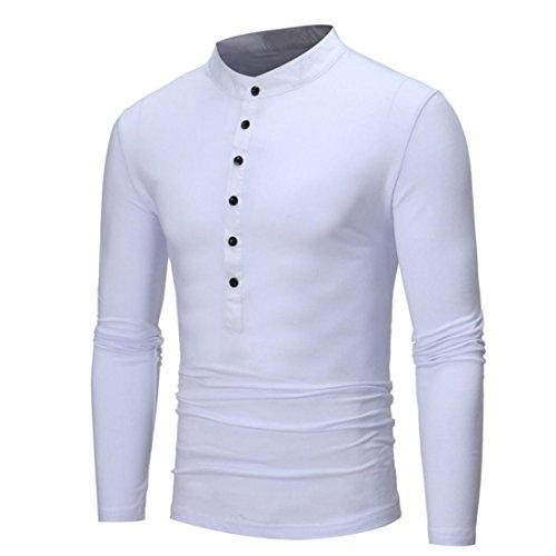 Men ' s casual Slim fit manica lunga maglietta Shirt Top ,Yanhoo® Sweatshirt - Felpa a manica lunga da uomo Felpa Girocollo Maniche Raglan - Uomo Bianco