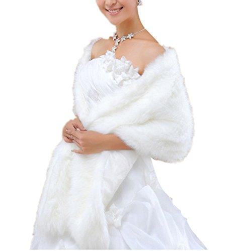 Insun Donna Scialle peluche pelliccia sintetica donne sposa Corpetto Bolero Giacche da sposa Bianco
