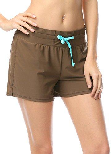 Damen UV Schutz Badeshorts Schwimmen Bikinihose Wassersport Schwimmshorts Boardshorts Kaffee M