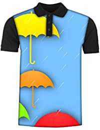 Snoogg Abstract Rainy Season Background with Colorful Umbrella and Raindrops Men's Polo T-Shirt with Collar Stylish Half Sleeve (Cotton,Polyester)