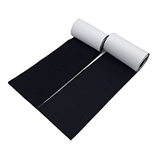 Arlent 100mm Wide 1 Meters Long Self Adhesive Hook Loop tape Set With Superglue Back Nylon Fabric Fastener Magic Tape Black