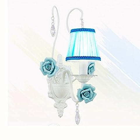 RECA Wandleuchte Europäische pastorale Wand Lampe Schlafzimmer Nachttisch Eisen Tuch Deckung Wohnzimmer Hintergrund blaue Wand Lampe ( größe : Einzelkopf )
