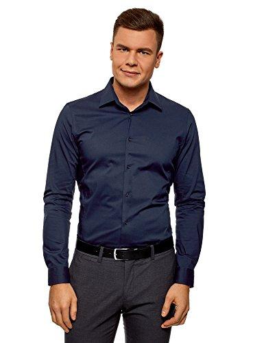 Oodji ultra uomo camicia basic con maniche lunghe, blu, 39cm/it 44/eu 39/s