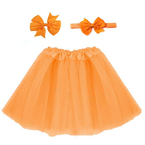(xbwwt Kleinkind Kinder Baby Mädchen Sonnkleid Lovely Pullover Rock Party Kleid Casual Strand Kleid (Send Stirnband) orange orange)
