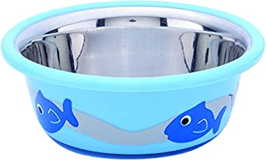 Elton Cute Fish Cutie Bowls (Blue) Cats & Small Dogs Bowls Export Quality Inside Stainless Steel Outside Colorful Plastic Dog Food Bowl Feeder Bowls Pet Bowl for Feeding Dogs Cats and Pets (Small 0.235 L)