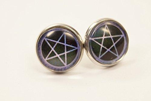 Ohrstecker Ohrringe 925er Silber Pentagramm Gothic Hexe Wicca Glas Halloween (Wicca Halloween-y)