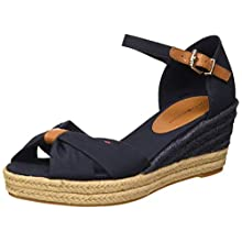 Tommy Hilfiger Women's Basic Opened Toe Mid Wedge Sandals, Blue (Desert Sky Dw5), 6.5 UK