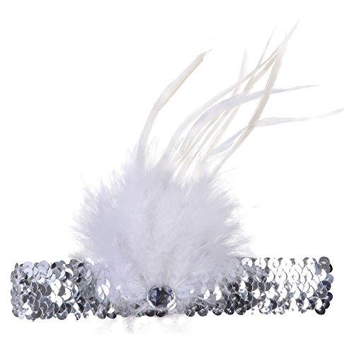 Bristol Novelty ba1017Flapper Stirnband Feder, Silber/Weiß, One ()