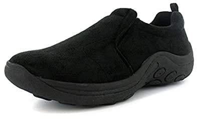 New Mens/Gents Black Twin Gusset Slip On Casual Shoes. Wider Fitting. - Black - UK SIZE 6