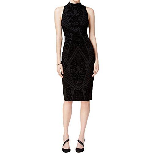 Bar III Womens Velvet Trim Back Slit Party Dress Black S (Womens Velvet Trim)