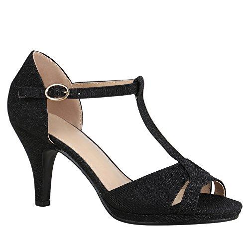 Damen Schuhe Riemchensandaletten Sandaletten High Heels Glitzer 156072 Schwarz Carlet 40 Flandell