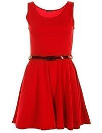 FASHION BOUTIQUE - Robe Femme Patineuse Sans Manche Courte Ceinture Sur Mesure - M-L FR 40-42, Rouge