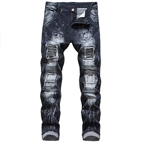hahashop2 Herren Chino Pants Skinny Fit Jeans Regular Fit Straight Jeans Jeanshose Die neuen elastischen Lokomotivmodelle der Männer nähten Jeanshosen -