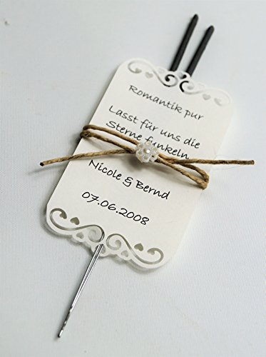 Wunderkerzen zur Hochzeit personalisiert Gastgeschenke GG0031 Vintage Spitze (50 Stück)