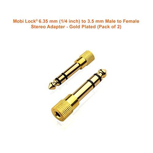 Mobi Lock Vergoldet 6,3mm (1/4 Zoll) bis 3,5 mm (1/8 Zoll) Stecker von Männlich zu Weiblichen Stereo Adapter und Audio Jack Connector (Packung mit 2)
