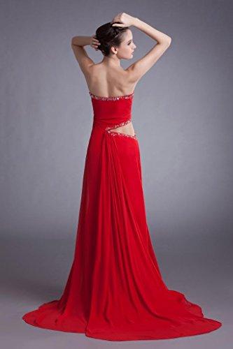 GEORGE BRIDE Elegante Perlen Schatzausschnitt rote lange Chiffon Abendkleid mit Split Side-Vordere Design Rot