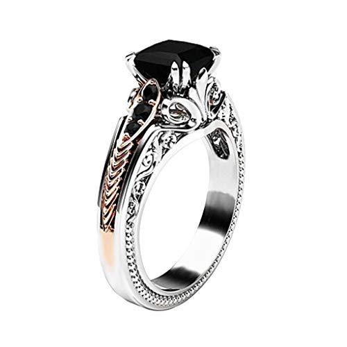 Cwemimifa Ring für Damen Perlenförmiger Wunsch, Mode Frauen Kupfer Ringe Schwarz Edelstein Schmuck Trauringe Größe 6-10, Schwarz, 6# (8 Größe Mode-ringe)