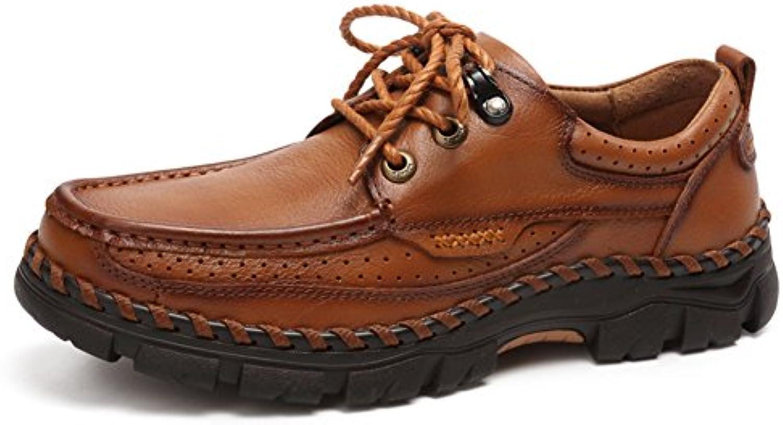 Men's Leather Casual Shoes Dress Bergsteigen Herbst Outdoor Leise Unten Sport Schuhe Rutschen Brown