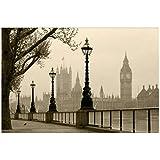 Lovemq 8D Papel Murales Nebbia Scenario Naturale London City Big Ben 3D Wall Foto Murale Carta Da Parati Per Camera Da Letto Sala Da Livrea 3D Murales-360X250Cm