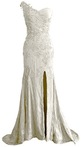 MACloth Gorgeous One Shoulder Long Prom Dress Mermaid Lace Formal Evening Gown Ivoire