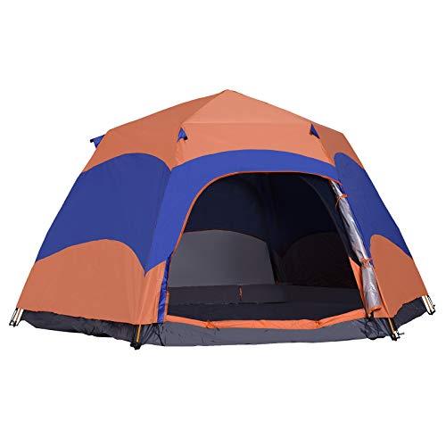 Outsunny Quick-Up-Zelt Doppelwandzelt Outdoor Familienzelt Pop-Up für 5-6 Personen 4 Jahreszeiten wasserdicht mit Tragetasche Moskitonetz 2 Türen Polyester + Glasfaser Orange + Blau 280 x 280 x 170 cm