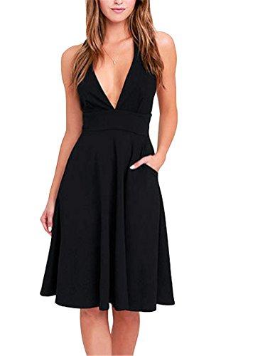 Brinny femmes robe taille lâche en V col profond sans manches à double poche longue au genou Noir