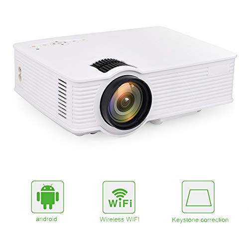 QLPP Video-Projektor 800Lux mit WiFi Android-LED-Lampe und 3,97 Zoll LCD-Panel-Tastenkorrektur, Home Theater Support HDMI USB VGA AV,White Lcd Ceiling Support