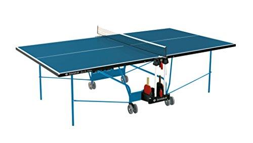 Blauer Outdoor-tischtennistisch (Schildkröt Tischtennisplatte Space Tec Outdoor, Outdoor Kompakttisch, wetterfeste 4 mm Melaminharzplatte, blaue Oberfläche, blaues Untergestell, klappbar und durch Räder leicht fahrbar, 838544)