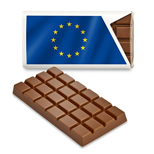 12 kleine Tafeln Schokolade - Fanartikel Süßigkeiten - Große Auswahl Länder, Nationen, Fahnen - Vollmilch (Europa)