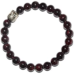 Aatm Reiki Energized Gift Natural Gemstone 7-8mm Round Beads Buddha Beaded Garnet Gemstone Chakra Stretch Bracelet Unisex for Healing