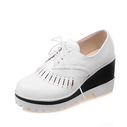 VogueZone009 Femme à Talon Haut Matière Souple Couleur Unie Lacet Rond Chaussures Légeres Blanc