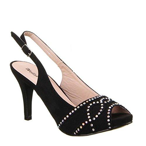 King Of Shoes , Bride cheville femme Schwarz AM-1