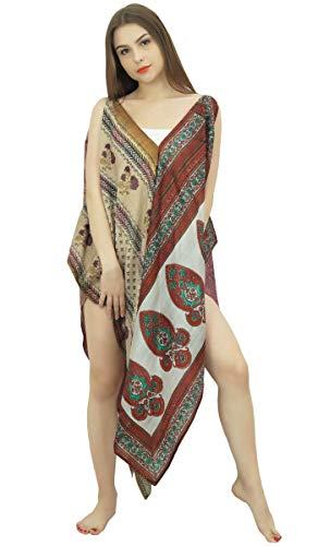 Indianbeautifulart Vintage-Saree Spaghetti-Bügel-Asymmetric-Strand-Kleid Bademode Sommer Kaftan Frauen - Sommer-spaghetti-bügel-kleid