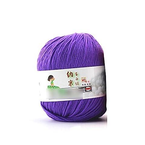 Lsv-8Fibroïne Pelote de laine lisse Laine peignée doux Tricot de soie naturelle Laine Fibre (1pièce: Violet)