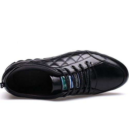 Autunno Scarpe Da Uomo Pelle Morbida Scarpe Casual Pizzo Pelle Basso Per Aiutare Le Scarpe Black