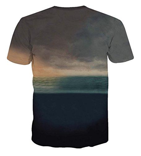 Yonbii Herren T-Shirts Pizza katze Short Sleeve 3D weiß bedruckt Totenkopf Shirt Cat-17