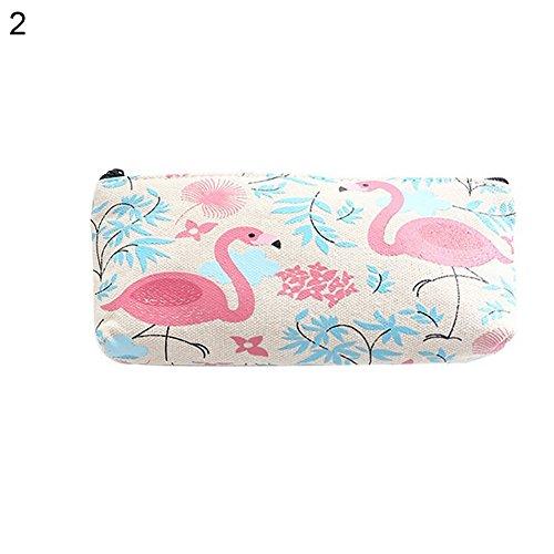 AchidistviQ Fashion Fruit Print Bleistift Stift Case kosmetische Make-up-Tasche Reißverschluss Schreibwaren Tasche Flamingo (Up Licht Pink Flamingo)