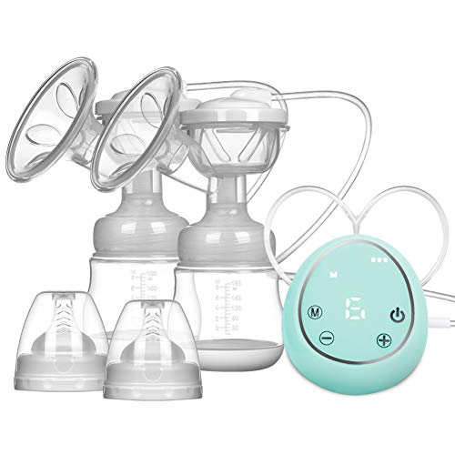 Elektrische Doppel Milchpumpe Brustpumpe, Doppel Muttermilch Abpumpen inkl. Schnuller aus Silikon mit Massage & Absaugung-EINWEG (Grun)