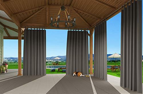 Clothink Outdoor Vorhänge mit Steckverschluss 132x275cm Grau -Easy Hang on - Winddicht Wasserdicht Verdunkelungsvorhänge,Mehltau beständig für Gartenlauben Balkon Strandhaus Vorhalle Pergola Cabana