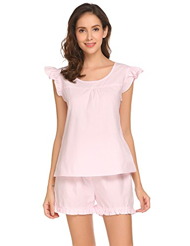 Rosa Baumwoll-shorty-pyjama (Damen Süße Kurz Pyjama Set Shorty 2-tlg. Baumwolle Schlafanzug Kurzarm Shirt & Shorts Sleepwear mit Ruffle Sleeve ,Farbe : Rosa, Größe : XL/EU 46)
