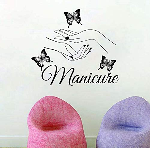 Beauté Ongles Salon Vinyle Sticker Mural Art Manucure Stickers Muraux papillon mains Nail Shop Mur Fenêtre Art Décoration 56x49cm