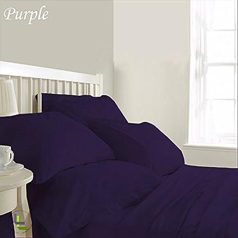 """600TC 100% cotone egiziano, confezione da 6 pezzi, elegante finitura WaterBed, Set di lenzuola, dimensioni: 71,12 (28"""") cm), Cotone, Purple Solid, EU_Double"""
