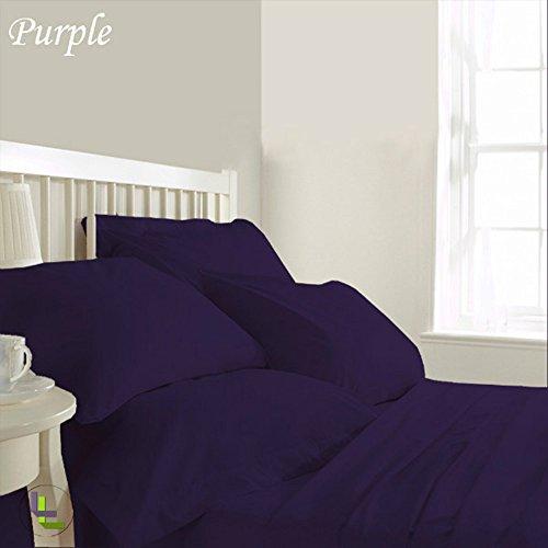 RoyalLinens 600tc 100% ägyptische Baumwolle elegant Finish 6Wasserbett Bettlaken-Set massiv (Pocket Größe: 71,1cm), Baumwolle, Purple Solid, EU_Super_King