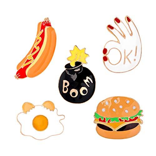 YeahiBaby Brosche Legierung Pullover Brosche Nette Hamburger Hot Dog Party Breastpin Clip Strickjacke Brosche Clip Corsage Geschenk Kostüm Geschenk 5 Stücke