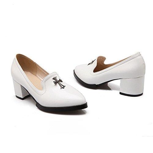 AgooLar Femme Pointu Tire Pu Cuir Mosaïque à Talon Correct Chaussures Légeres Blanc