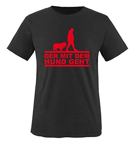 Der mit dem Hund geht - Herren T-Shirt - Schwarz/Rot Gr. 3XL -