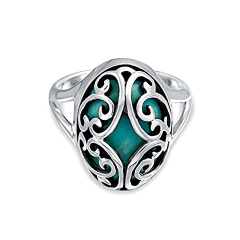 Sterling Silver Scroll Domed Oval Turquoise Gemstone Ring