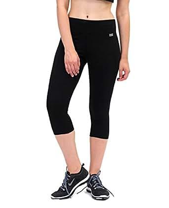 fcc0cfbd700fda Pineapple DANCEWEAR Womens Wide Band Crop Capri Leggings Black Stretch  Fabric (Extra Small UK 6