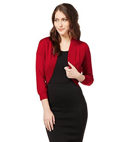 WoolOvers Strickbolero aus Merinowolle-Kaschmirwolle für Damen Red, S